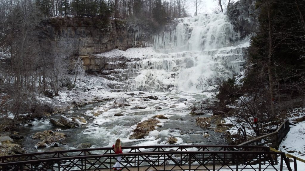 Chittenango Falls view from the footbridge at the base