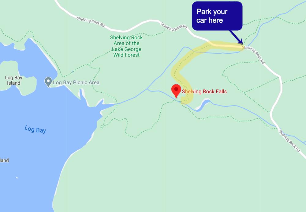Shelving Rock Falls Trailmap