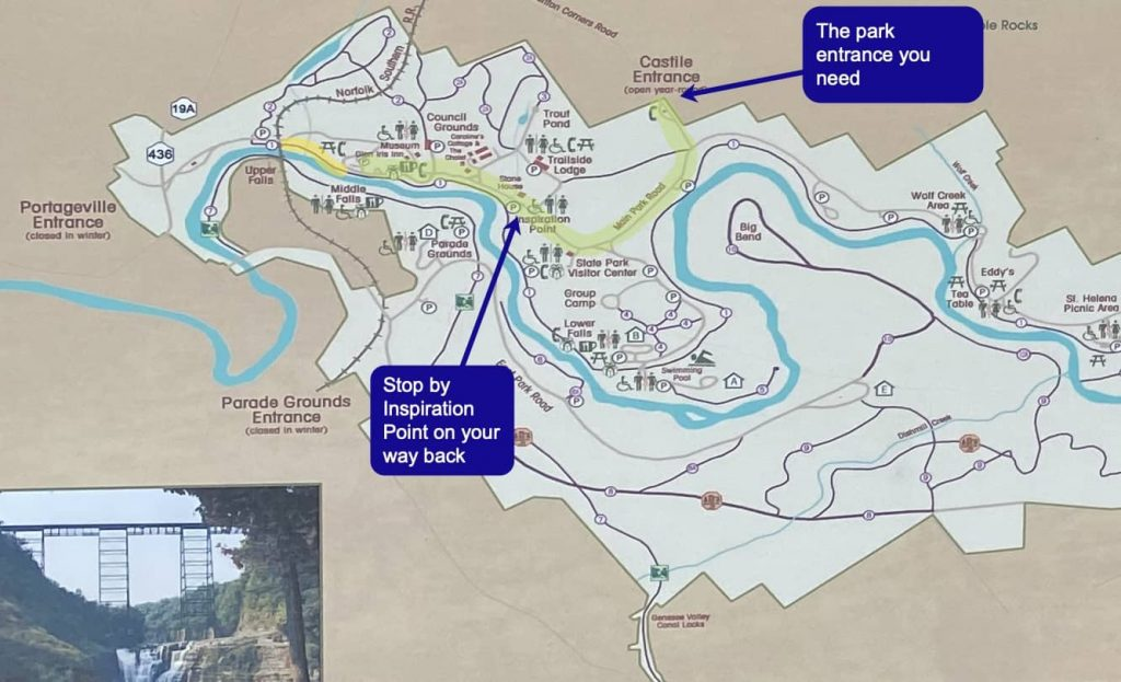 Trail map to Upper Falls in Letchworth State Park