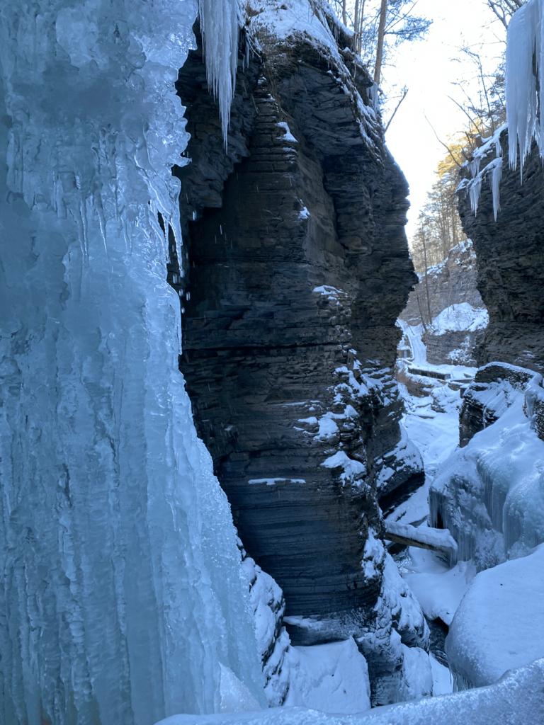 Frozen trail in watkins glen state park