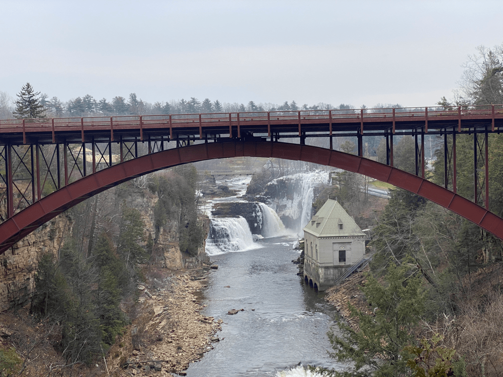 rainbow falls from Ausable Chasm