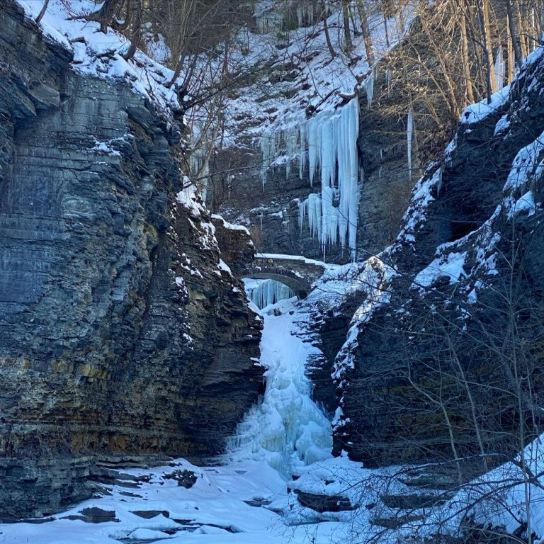 Frozen Waterfalls of Watkins Glen Park in Winter