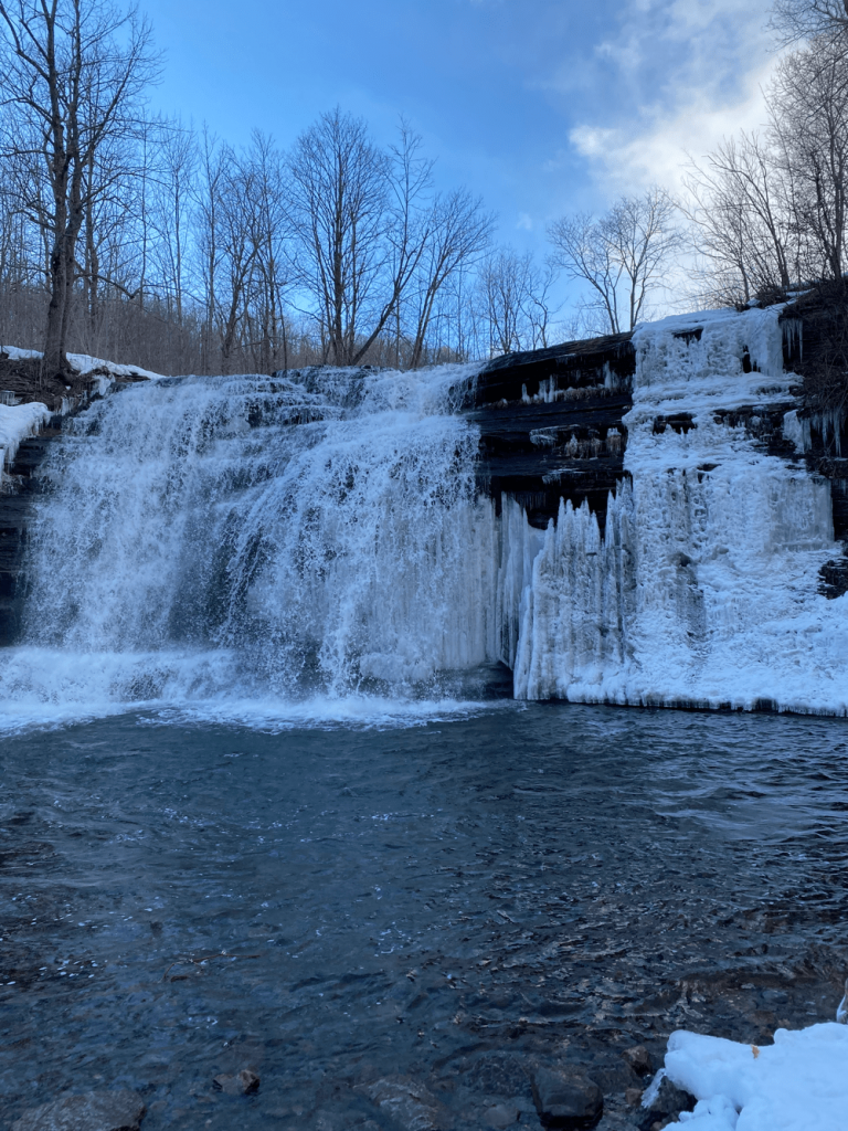 Pixley Falls Hiking Trails in Winter