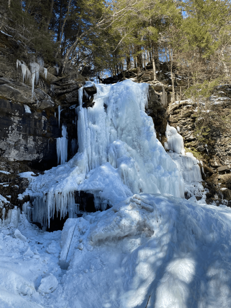 Frozen Plattekill Falls in Catskill Mountains