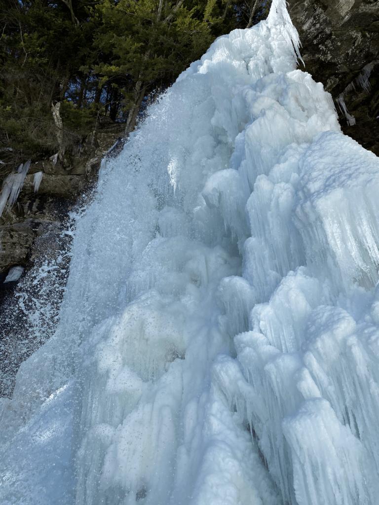 Frozen Plattekill Falls in winter