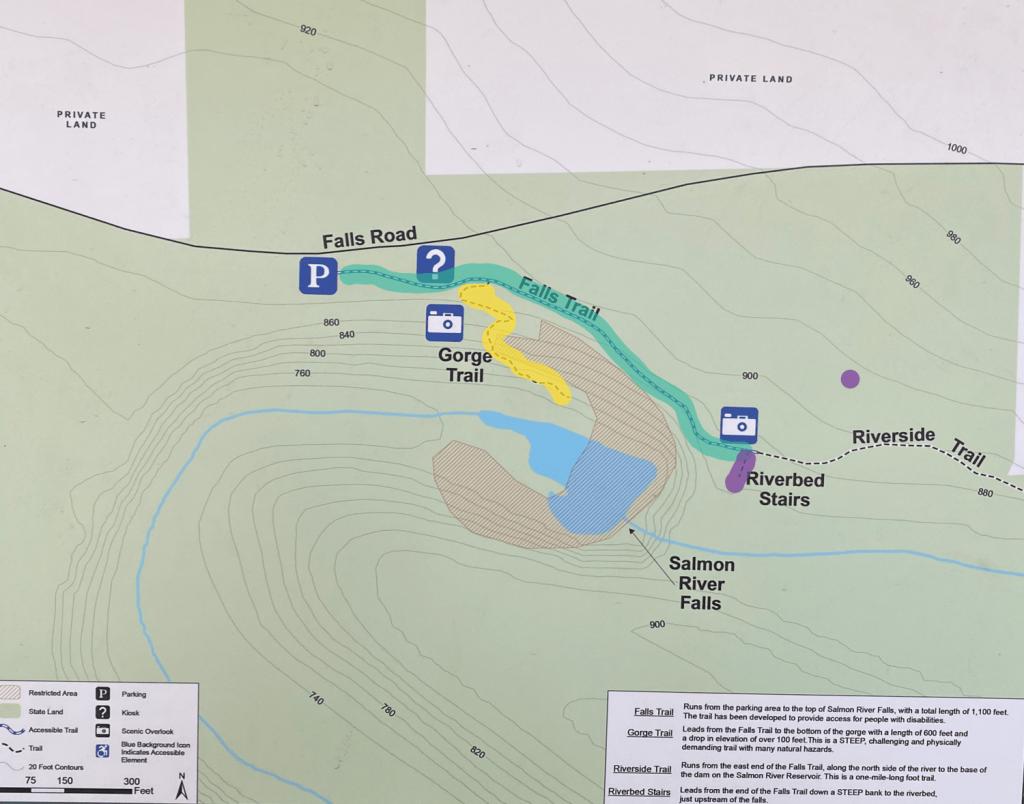 Salmon River Falls trail map